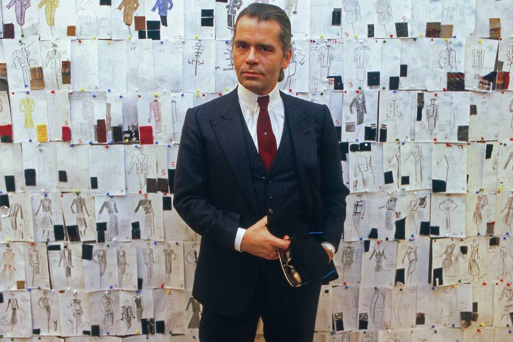 Marking his first year at Chanel in March 1984 GETTY IMAGES - A photo of Lagerferld during his first year at Chanel, as he finishes his Haute Couture collection. This Autumn Winter collection will be shown three weeks later..jpg