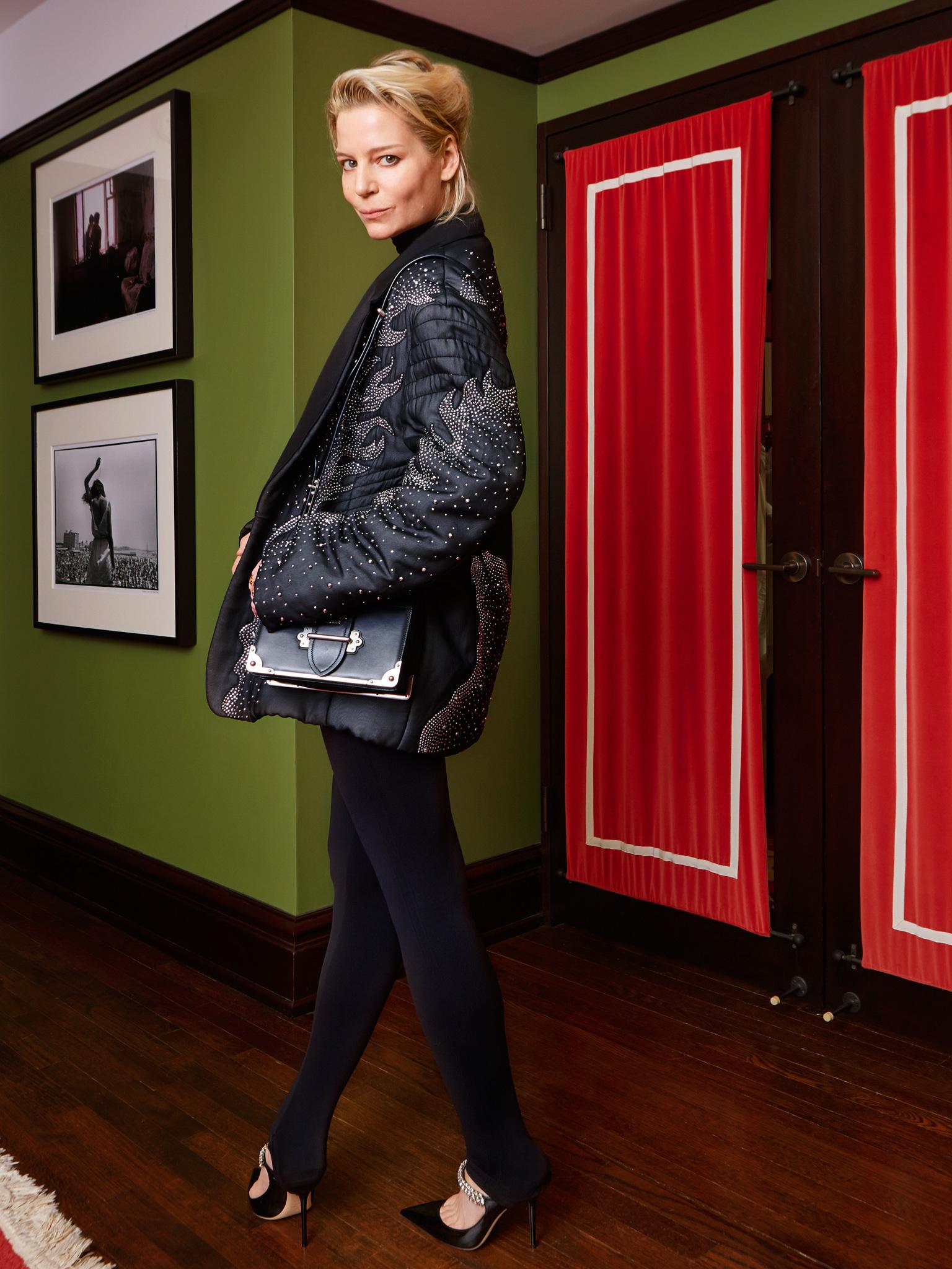 Details: Leggings:    SPANX   , Body Suit:    ALIX   , Beaded Top:    Ermanno Scervino   , Shoes:    Jimmy Choo   , Blazer:    Louis Vuitton   , Bag:    Prada