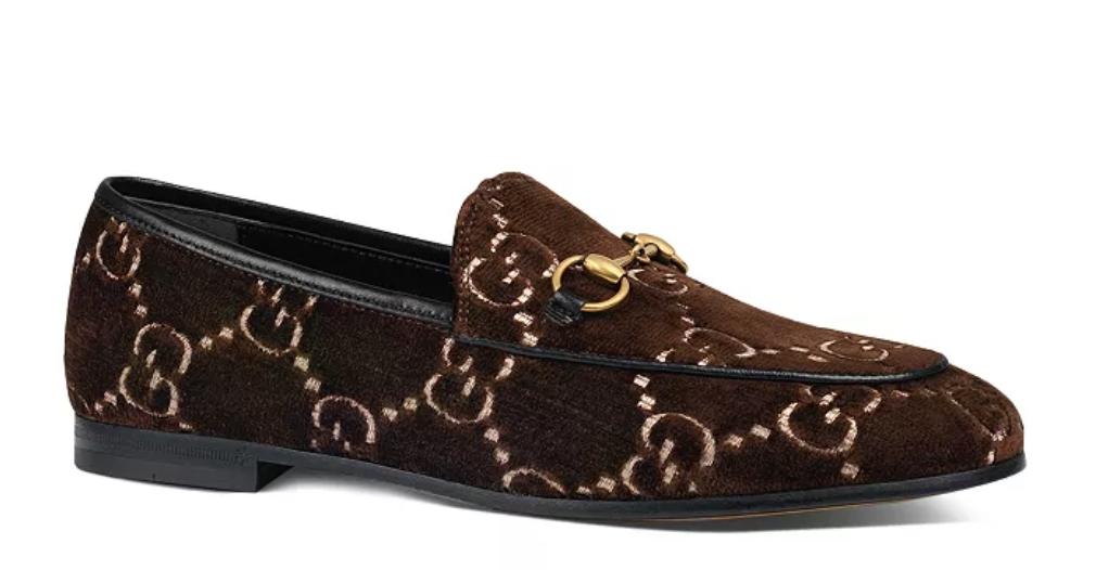 GUCCI Jordaan Velvet Logo Loafers, AVAILABLE AT BLOOMINGDALES
