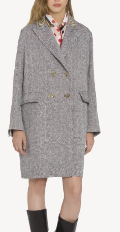 ERMANNO SCERVINO  Double-Breasted Coat In Linen Blend, AVAILABLE AT ERMANNO SCERVINO