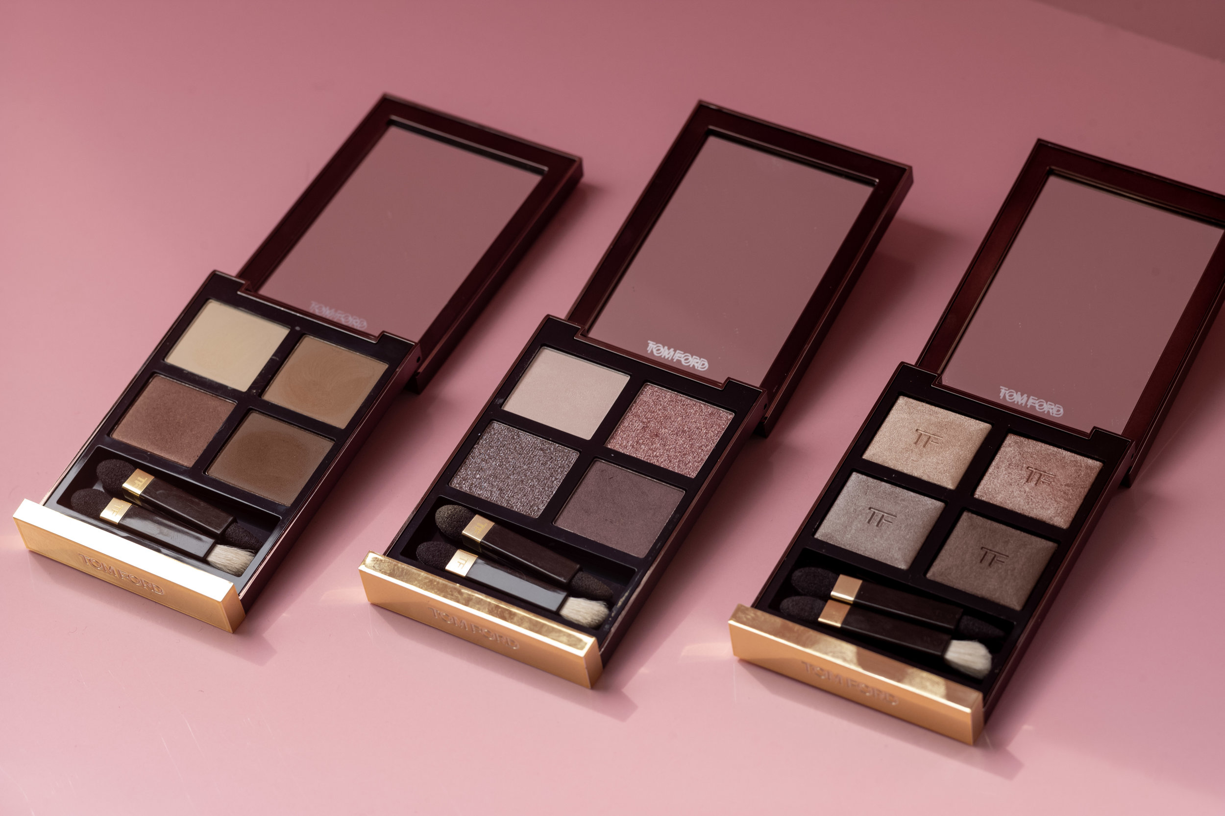 From left to right:     EYE QUAD         in Cocoa Mirage, Seductive Rose & Nude Lip