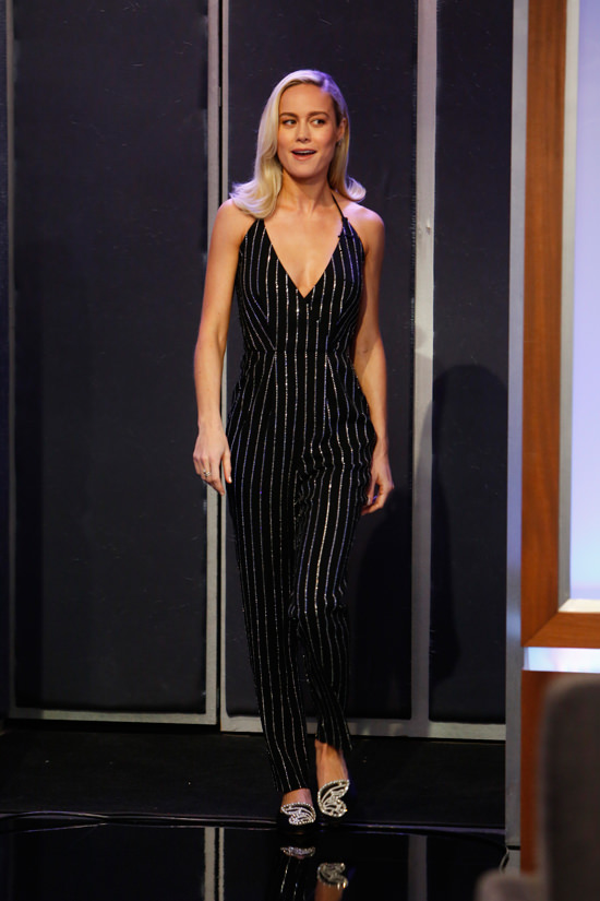 Brie Larson at Jimmy-Kimmel Live in Azzaro and Tom Lorenzo.jpg
