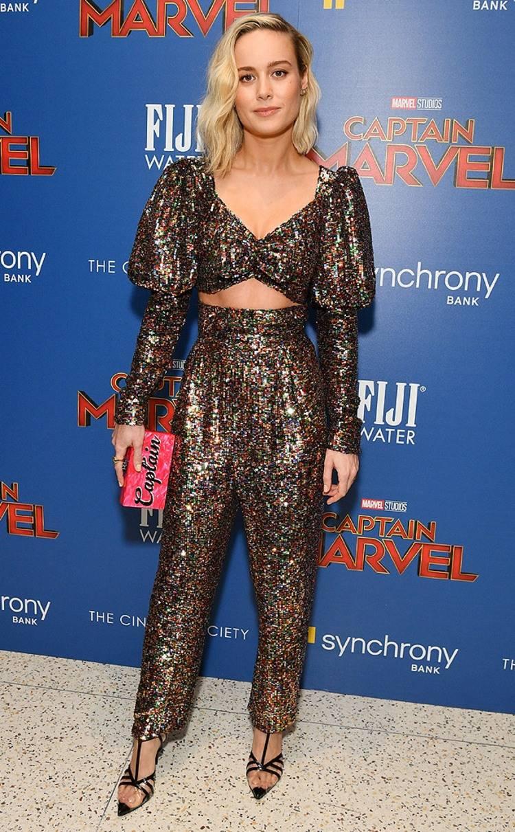 Brie Larson in Rodarte w: Edie Parker bag at Captain Marvel Premiere in NYC.jpg