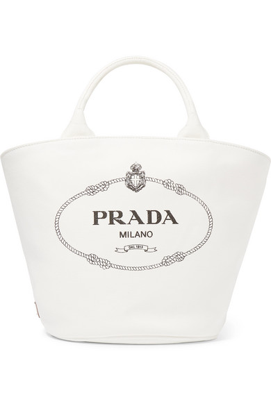 PRADA LEATHER TRIMMED PRINTED COTTON CANVAS TOTE.jpg