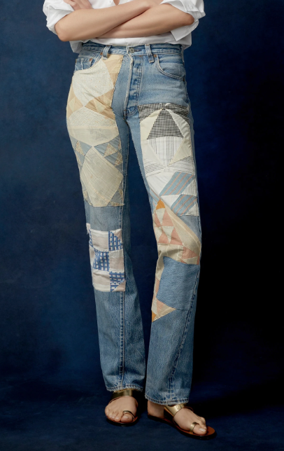 BSIDES Exclusive Mid-Rise Patchwork Straight-Leg Jeans