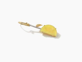 Agate and Diamond Lemon Wedge Single Earring 18K Gold - Exclusive