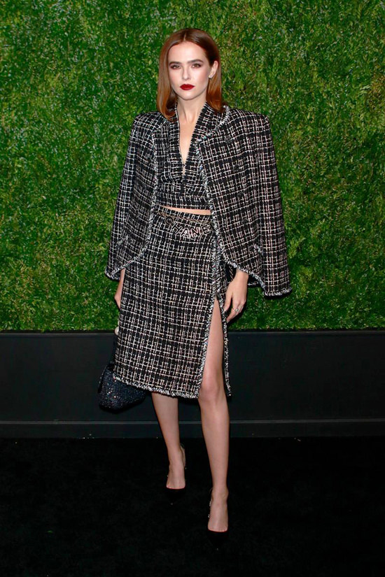Zoey Deutch in Chanel at the Chanel Artist Dinner Tribeca Film Festival 2019.jpg