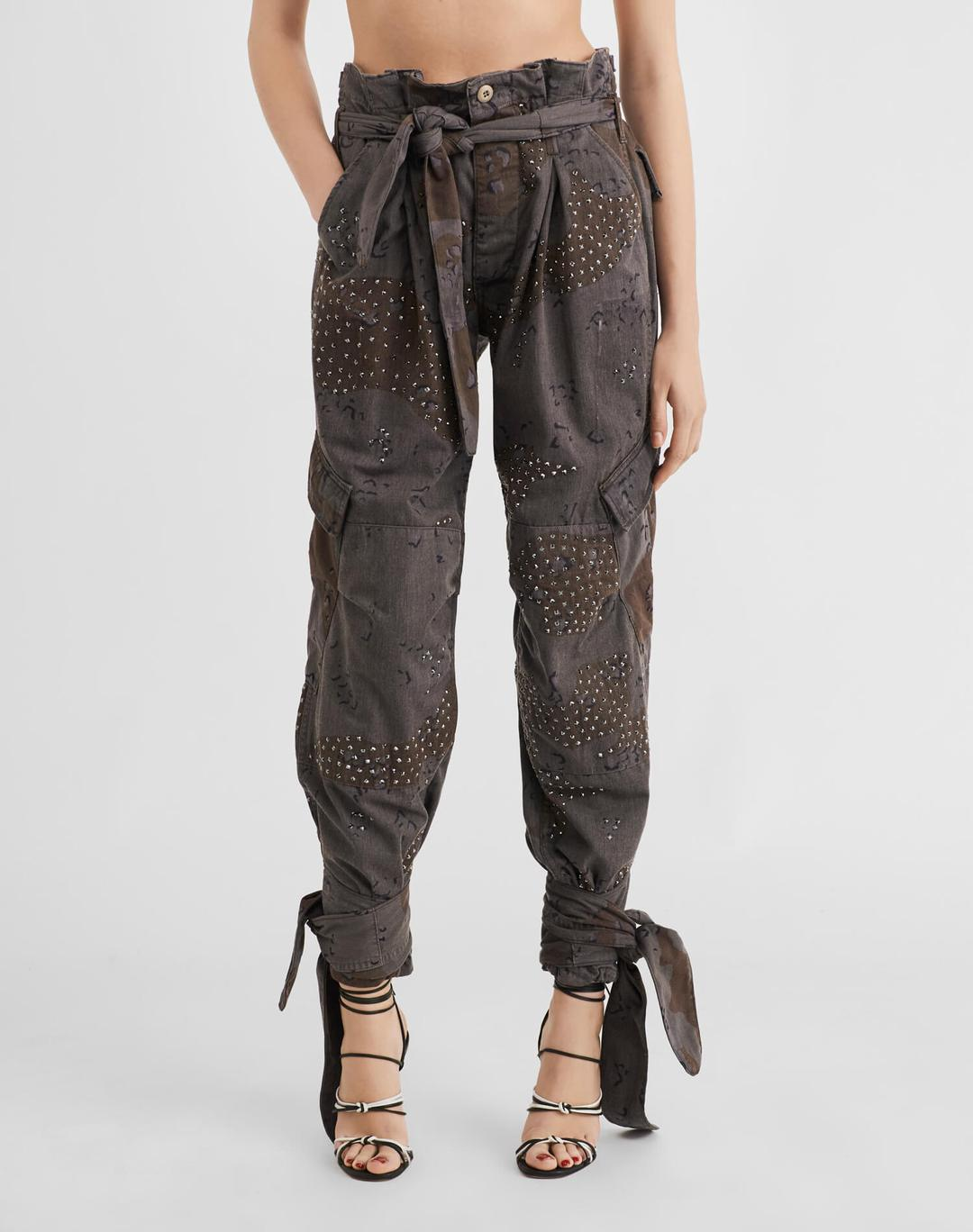 Pleated 80s High Rise Pant w/ Swarovski Crystals