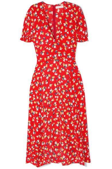 Faithful The Brand Ari Floral Print Crepe Midi Dress