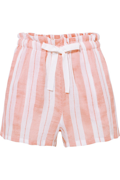 LEMLEM Doro Striped Cotton Blend Gauze Shorts