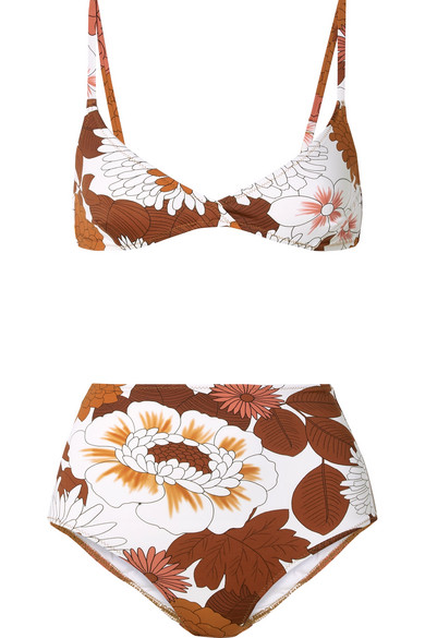 DODO BAR Printed Floral Triangle Bikini