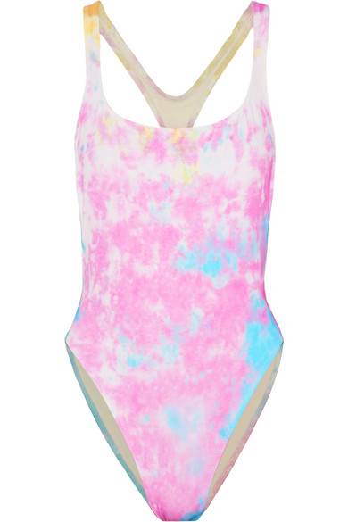 SOLID & STRIPEDRE/DONE The Venice cutout tie-dyed swimsuit