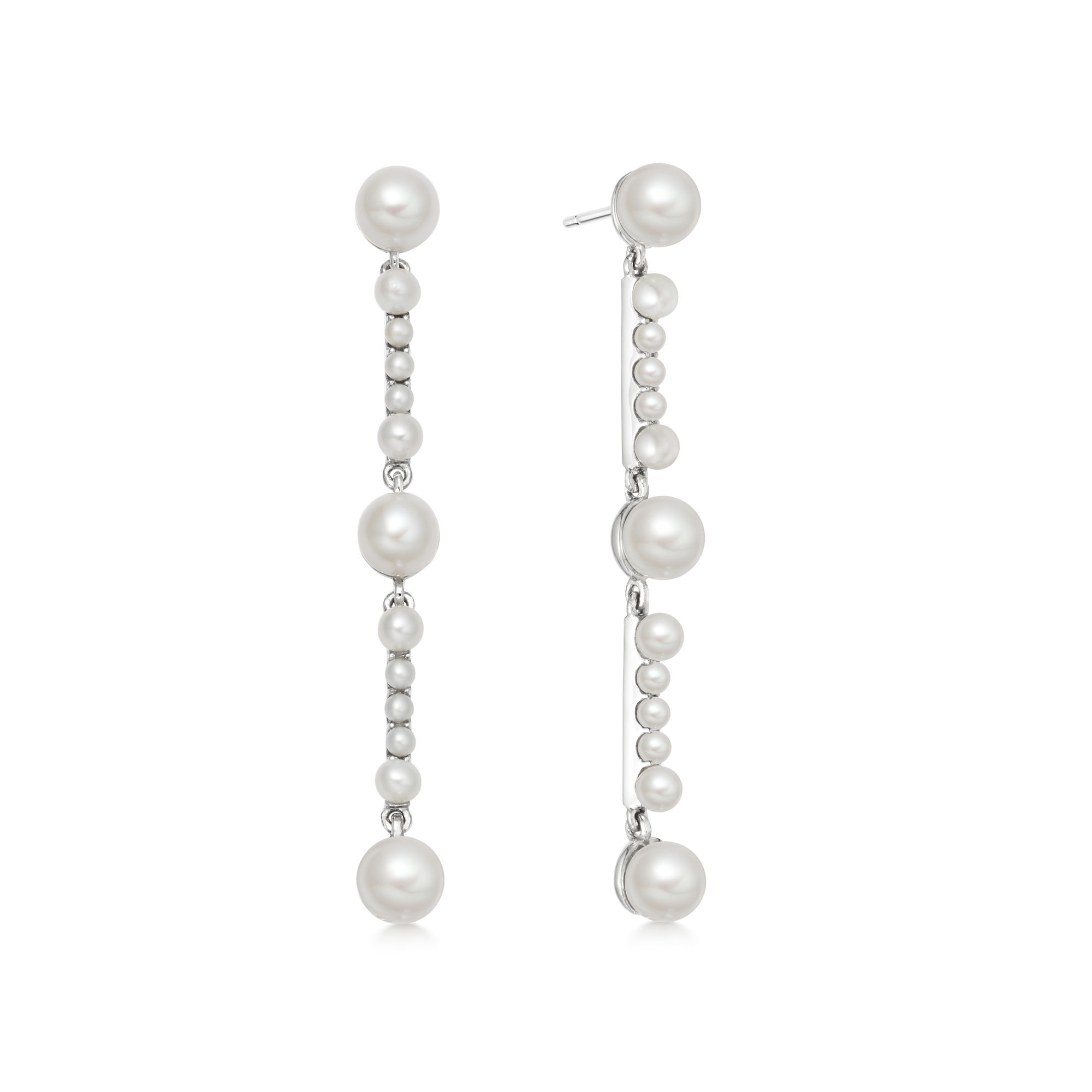 Orbs Pearl & Sterling Silver Drop Earrings, $250