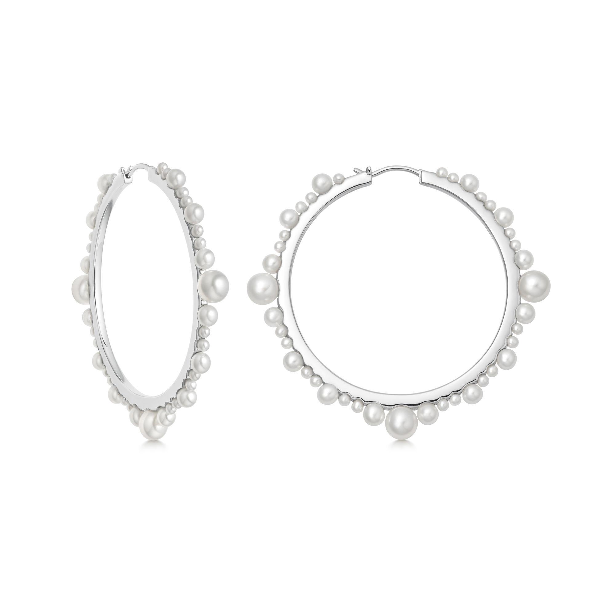 Orbs Pearl & Sterling Silver Large Hoop Earrings, $420
