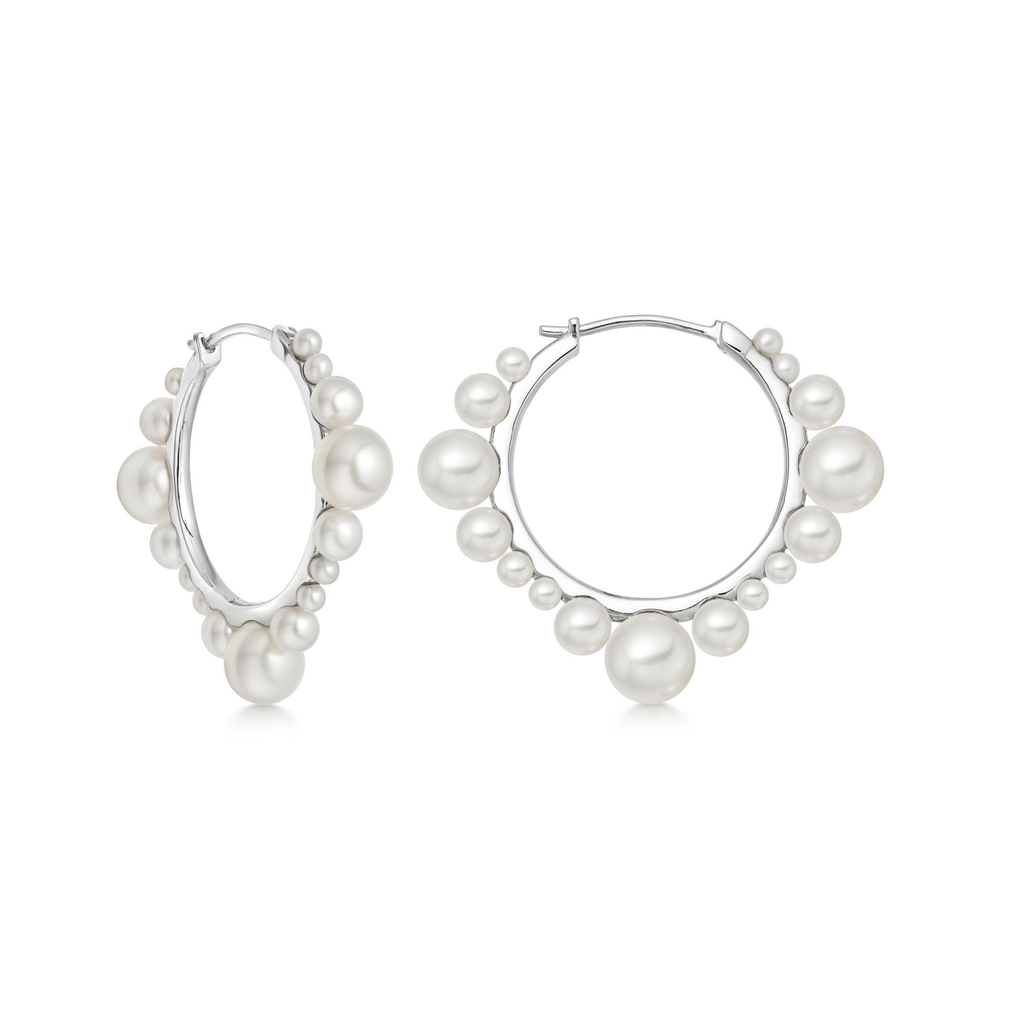 Orbs Pearl & Sterling Silver Small Hoop Earrings, $220