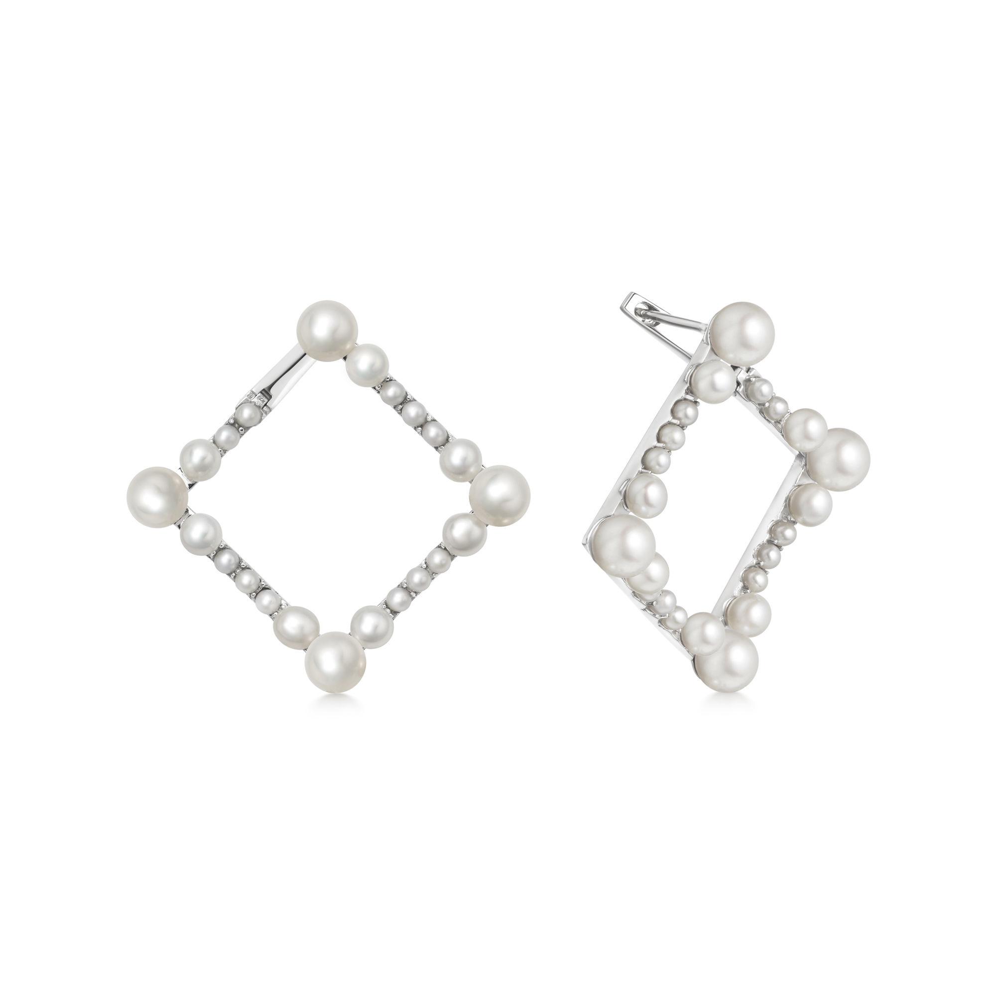 Orbs Pearl & Sterling Silver Square Hoop Earrings POA
