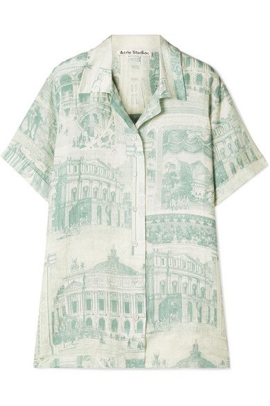 Acne-Green-White-Rellah-Theatre-Shirt