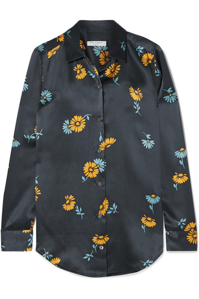 EQUIPMENT-Essential-floral-print silk-satin shirt