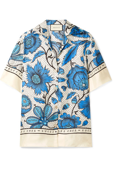 Gucci-Bowling-shirt with-watercolor-flowers