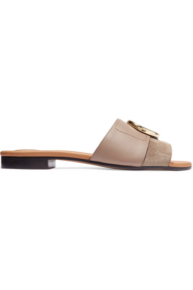 CHLOÉ-Chloé-C-logo-embellished-leather-and-suede slides.jpg