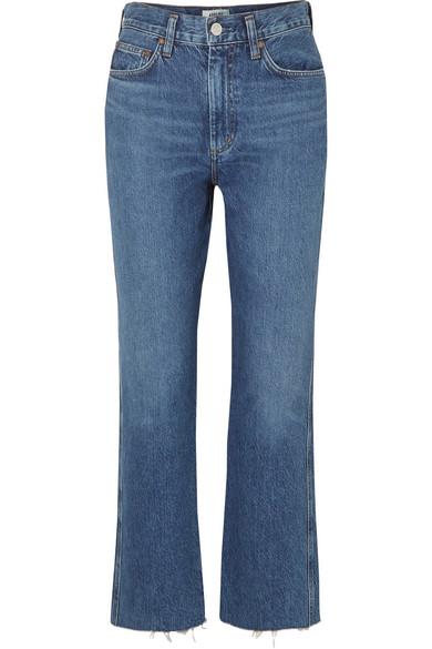 AGOLDE Pinch Waist cropped organic high-rise flared jeans.jpg