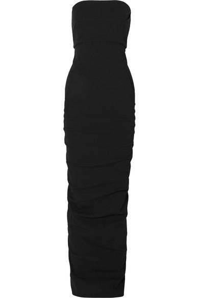 RICK OWENS Strapless cotton-blend crepe maxi dress.jpg