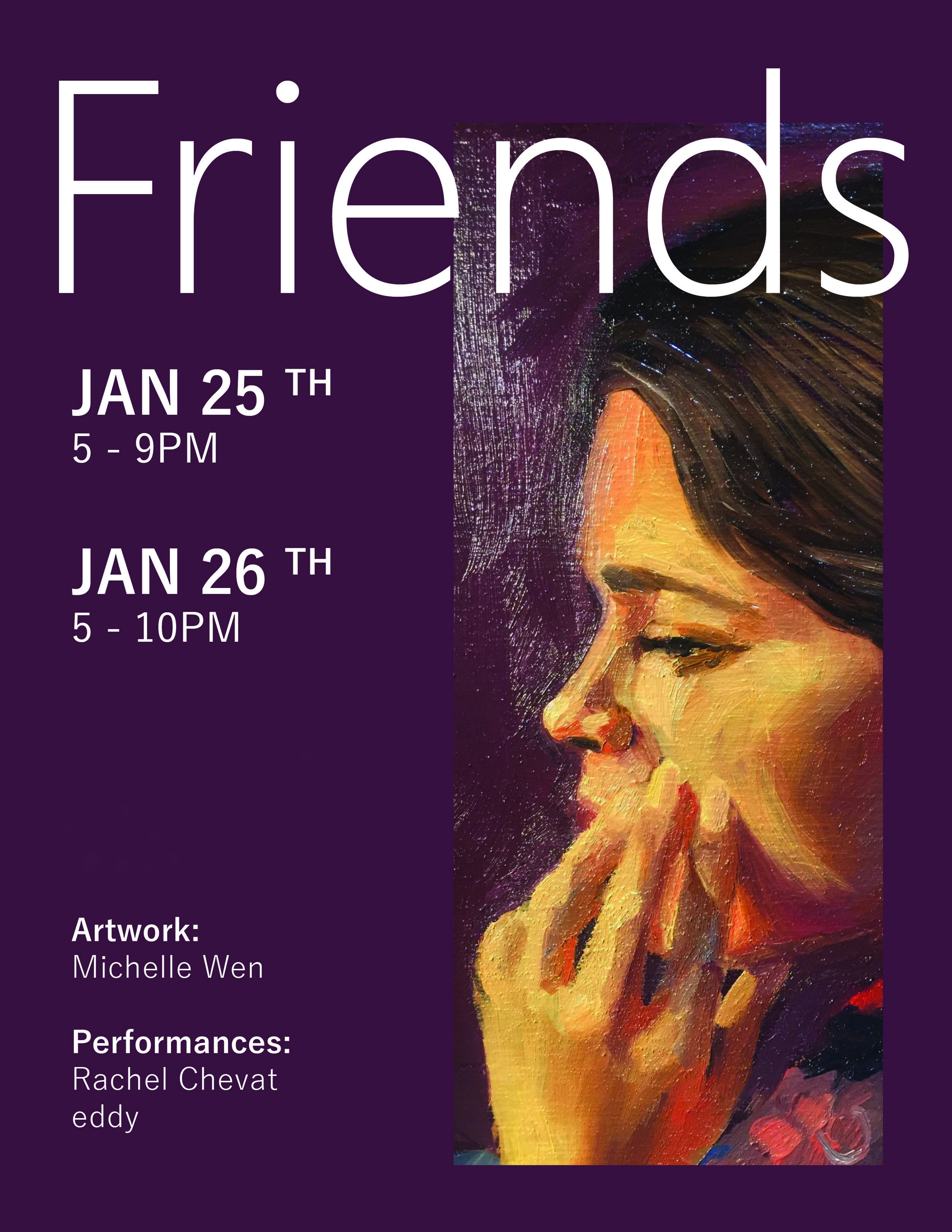"""Friends"" - Friends is a two day art exhibition featuring the work of Michelle Wen (Our Teaching Artist.) The portraits of a diverse group of friends will be displayed along with the handmade ceramics and pottery sale, in which 15% of all sales go towards funding art classes and upcoming Give Back events at The UnSpace. The show featured two performances by musicians Rachel Chevat and eddy, giving these up-and-coming artists a platform to shine."