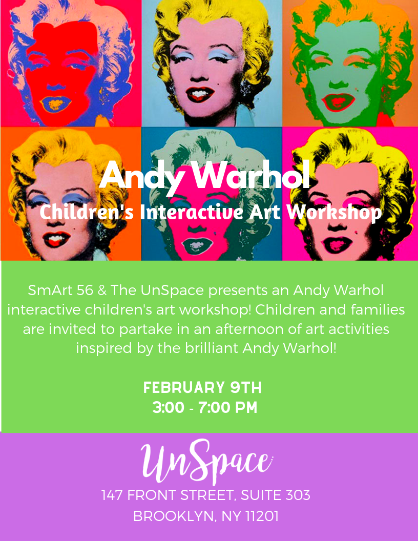 Andy Warhol Children's Interactive Art Workshop - Immersive art educational event focused on Andy Warhol and the NYC art scene in the 1960s. The UnSpace was turned into Andy Warhol's creative factory.About The Workshop:- Experience the legendary era in New York City- Understand the main POP ART concepts and art context at that time- Explore educational theatre component: interview with Andy Warhol and Edie Sadgwick (played by Adrian Le Ray and Rebecca Karpovsky) interviewed by Alex Budnitsky- Learn different art techniques and create your own masterpiece