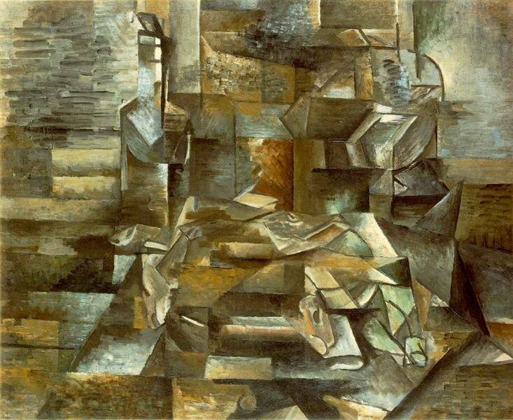Bottles and Fishes (1910) by Georges Braque