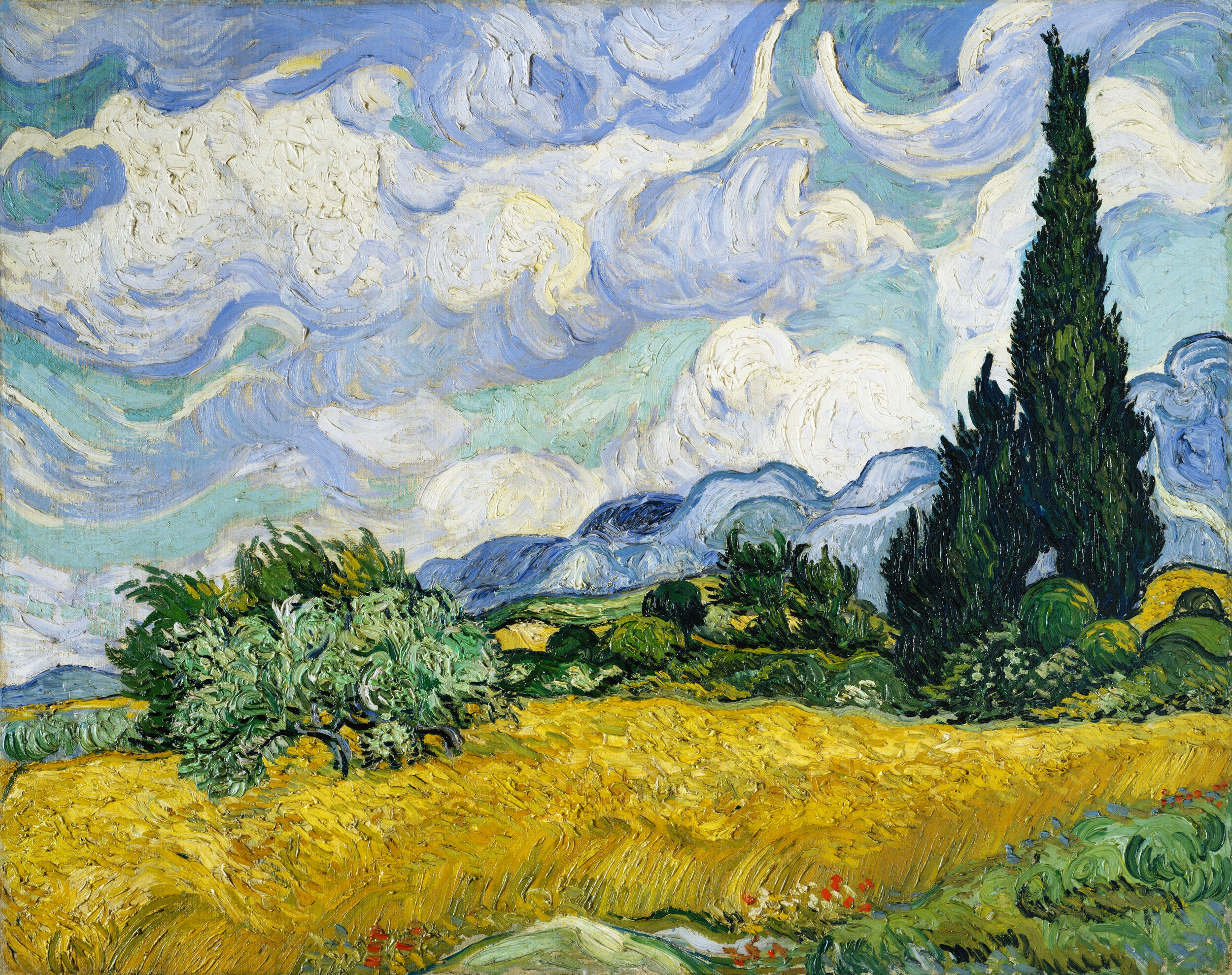 Wheat Field with Cypresses (1889) by Vincent Van Gogh