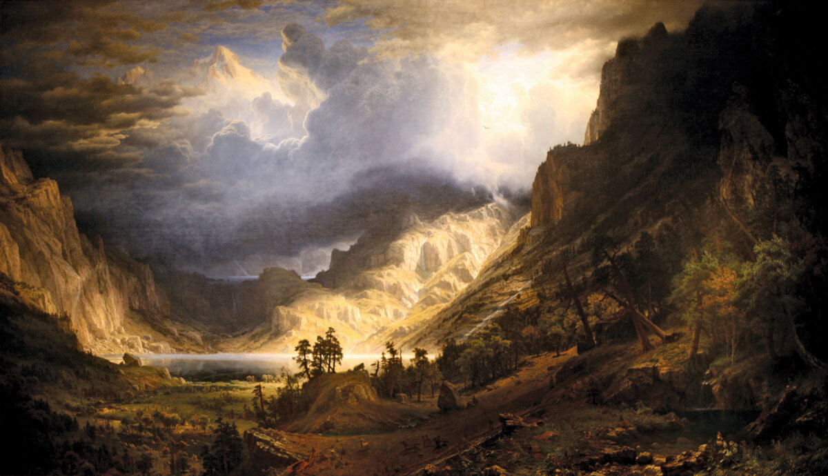 A Storm in the Rocky Mountains, Mt. Rosalie, oil on canvas by Albert Bierstadt, 1866; in the Brooklyn Museum, New York City
