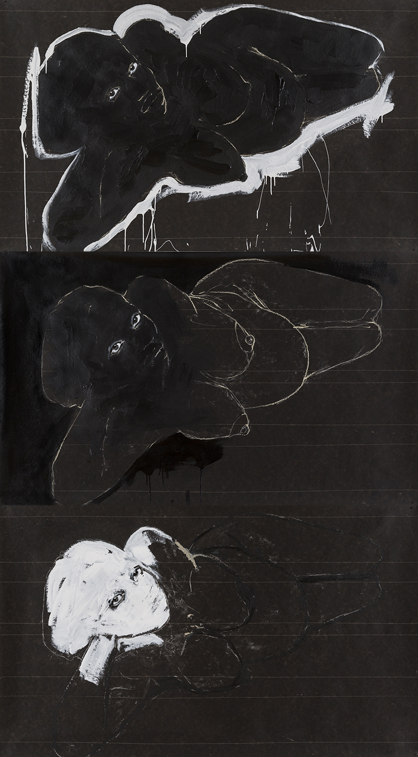 Pregnant Woman 3X, 108x60in, work on paper