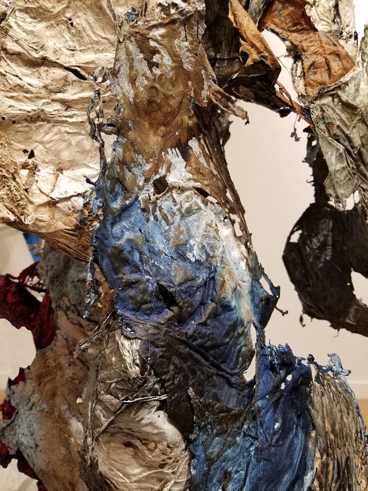 Bonny Leibowitz   Not This, Not That - detail 2018 Installation _ size variable  Tyvek, inks, acrylic and dry pigment  Folded Residency and Exhibition with Michael David, M. David & Co., Brooklyn, NY