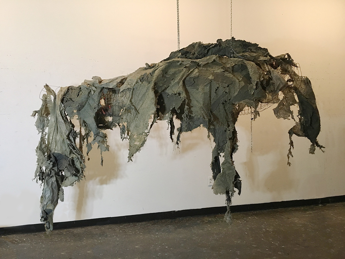 """'Coelacanth' 25""""x79"""" wire and found plastic 2017"""