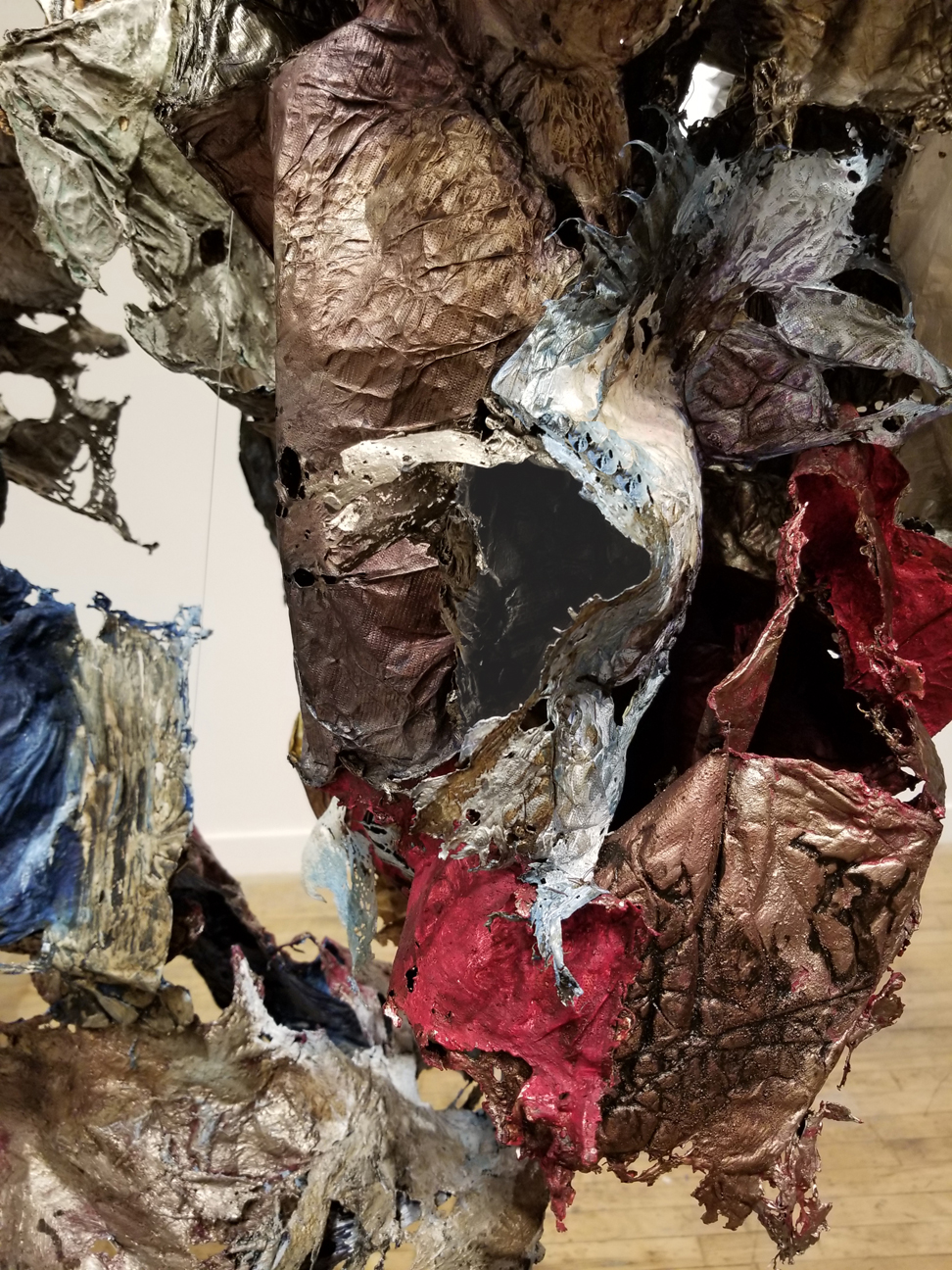 Not This, Not Thatdetail, 2018 Installation, size variable,Tyvek, inks, acrylic and dry pigment