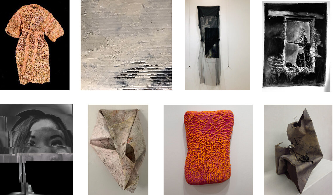 """Clockwise from top left: Jane Cornish Smith, Cover Up, 2016, 48""""x34""""x10"""", encaustic and oil on crocheted paper  Susan Poirier, Discarded Series No. 3, 2019, 10""""x10"""", cold wax, oil, marble dust and sand on cardboard Francesca Schwartz, To Be Revealed, 2019, 80""""x2""""x43"""", chiffon, kozo paper, paint and pins Cynthia Sparrenberger, What Remains #2, 2019 22""""X30"""" photo/collage, oil-stick, cold wax and graphite on paper Susan Sponsler-Carstarphen, Untitled, photography, 2019, 20x24  Lindy Wood, What's Beneath, 2019, 35""""x20""""x11"""", oil, enamel, thread, leaves, canvas Barry Katz, Untitled, 2019, 22""""x15""""x5"""", Encaustic over plaster Jean Hauptman, Waning Gibbous, 2019, 14""""x16"""",paper, wire and pigment"""