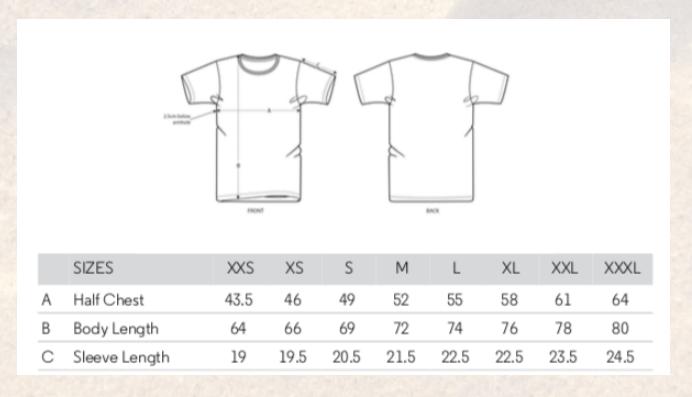 The Nature Exchange Habitat Tree t-shirt Unisex size chart