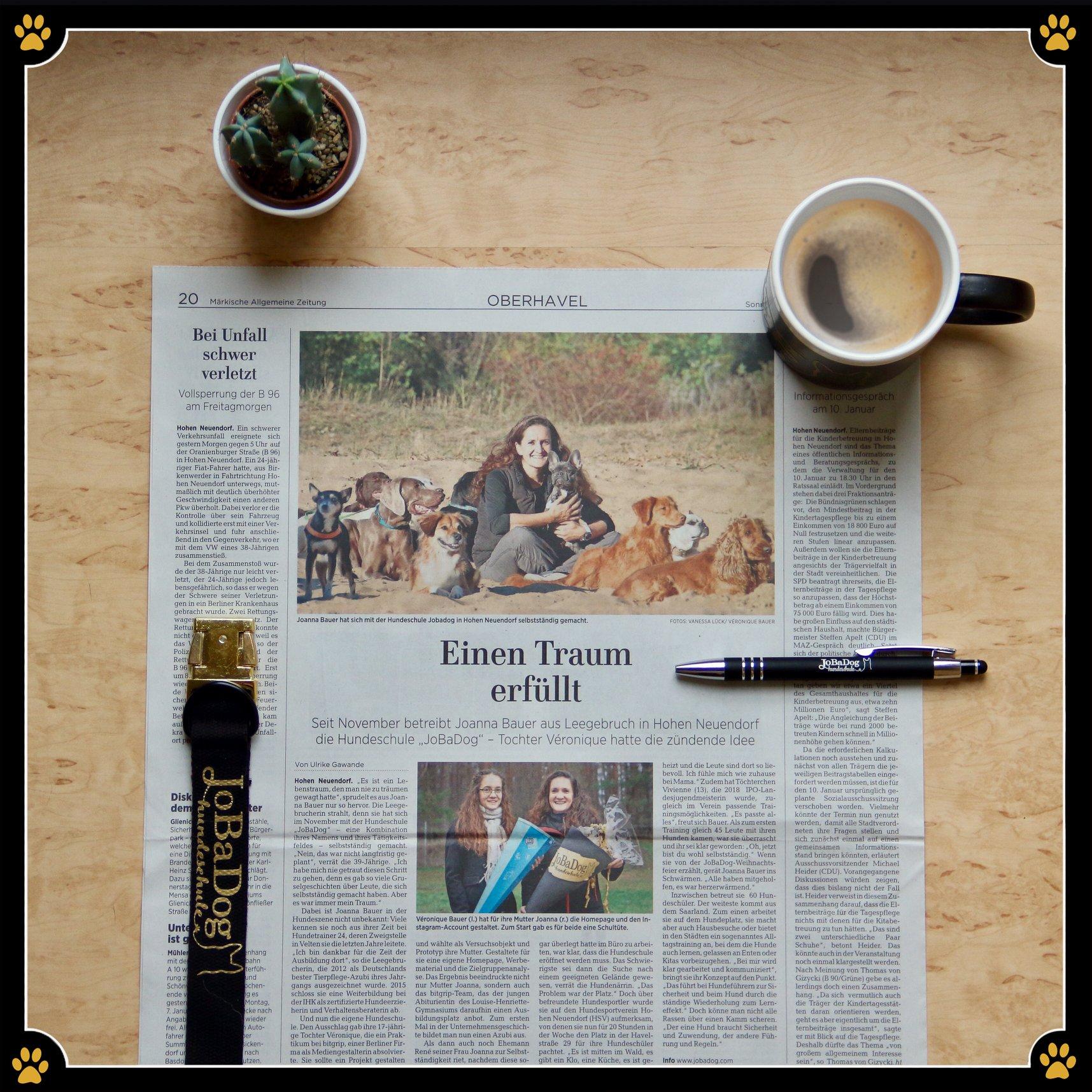 Einen Traum erfüllt - Am 05.Januar.2019 erschien dieser wundervolle Zeitungsartikel über JoBaDog, geschrieben von Ulrike Gawande, in der MAZonline / Märkische Allgemeine. 😍Der Titel