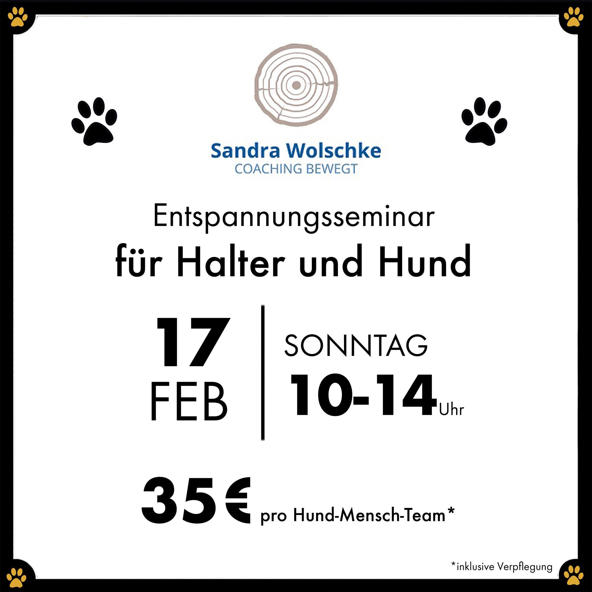 Entspannungsseminar für Halter und Hund - Ist Frauchen oder Herrchen gestresst, so findet der Hund ebenfalls keine Ruhe!🐾 Am Sonntag, den 17.02.2019, haben Sie die Chance Achtsamkeit zu erlernen, um auch Ihrem Hund beizubringen wie Entspannung funktioniert.🧘🏻♀️ Im Entspannungsseminar für Halter und Hund zeigt Ihnen Coach Sandra Wolschke, welche zudem examinierte Kinderkrankenschwester und Heilpraktikerin ist, den Mensch-Hund-Teams was Achtsamkeit im Leben mit dem Hund verändern kann und wieso sich dadurch die Bindung zum vierbeinigen besten Freund verstärkt.💛 In dem Entspannungskurs erfahren Sie außerdem mehr über:Entspannung für Halter und Hund - dazu gehört die Stressbewältigung durch Achtsamkeit und modernes Zeitmanagement.🕐 Das kann Ihnen beim Gassi gehen passieren, wenn Ihr Hund falsch reagiert und Sie durch Ihre eigene Stressreaktion die Situation verschärfen. Gerade dann wäre es doch besser ruhig und gelassen zu reagieren, denn dieses Verhalten überträgt sich auch auf Ihren Hund. 💪🏻Umgekehrt funktioniert das natürlich genauso. Wenn Sie nach einem gestressten Arbeitstag nach Hause kommen und Ihr Vierbeiner Sie freudig, mit liebevollem Blick und wedelndem Schwanz empfängt geht es Ihnen gleich viel besser.🤩 In dem Entspannungsseminar wird Ihnen die Wechselbeziehung zwischen Halter und Hund aufgezeigt, damit Sie lernen zukünftig achtsamer mit Ihnen und Ihrem Hund umzugehen.🧘🏻♂️