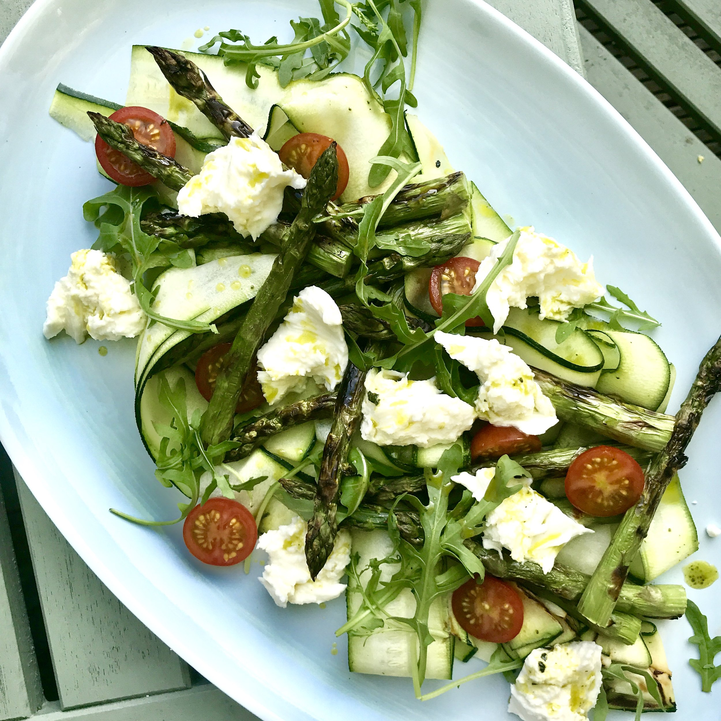 Chargrilled asparagus w courgette, datterini and burrata