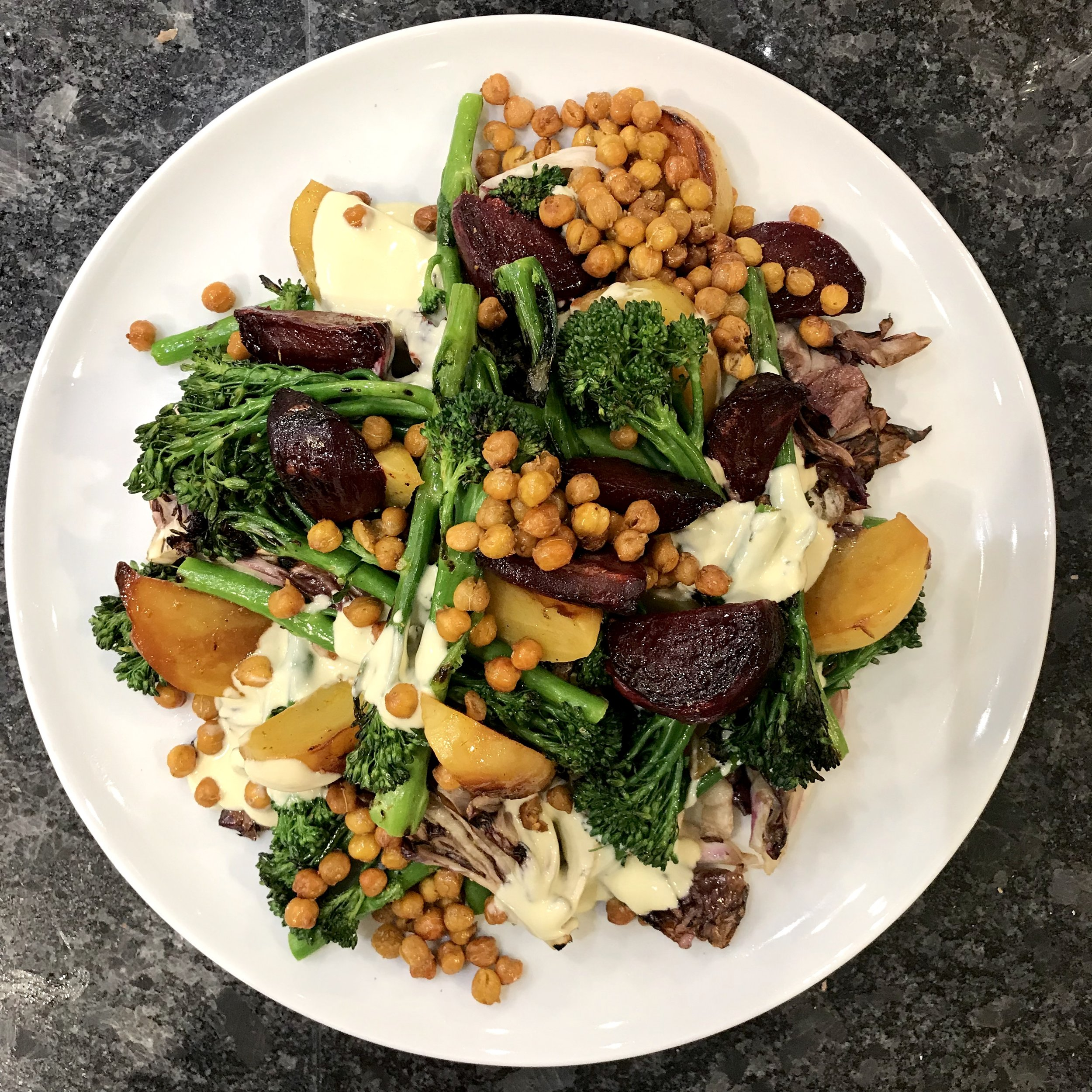 Roasted beets and broccoli with crispy chickpeas