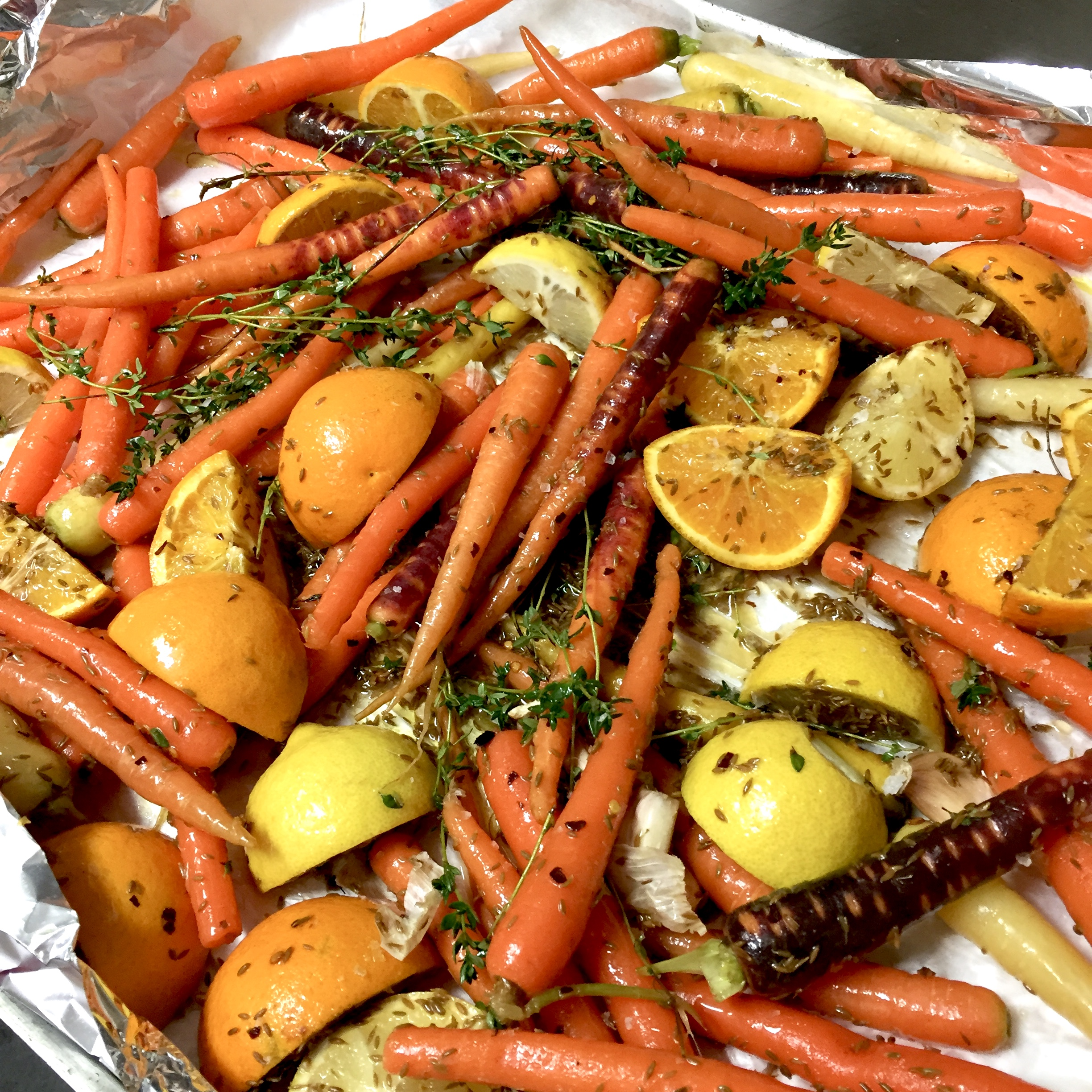 Roasted rainbow carrot and orange salad