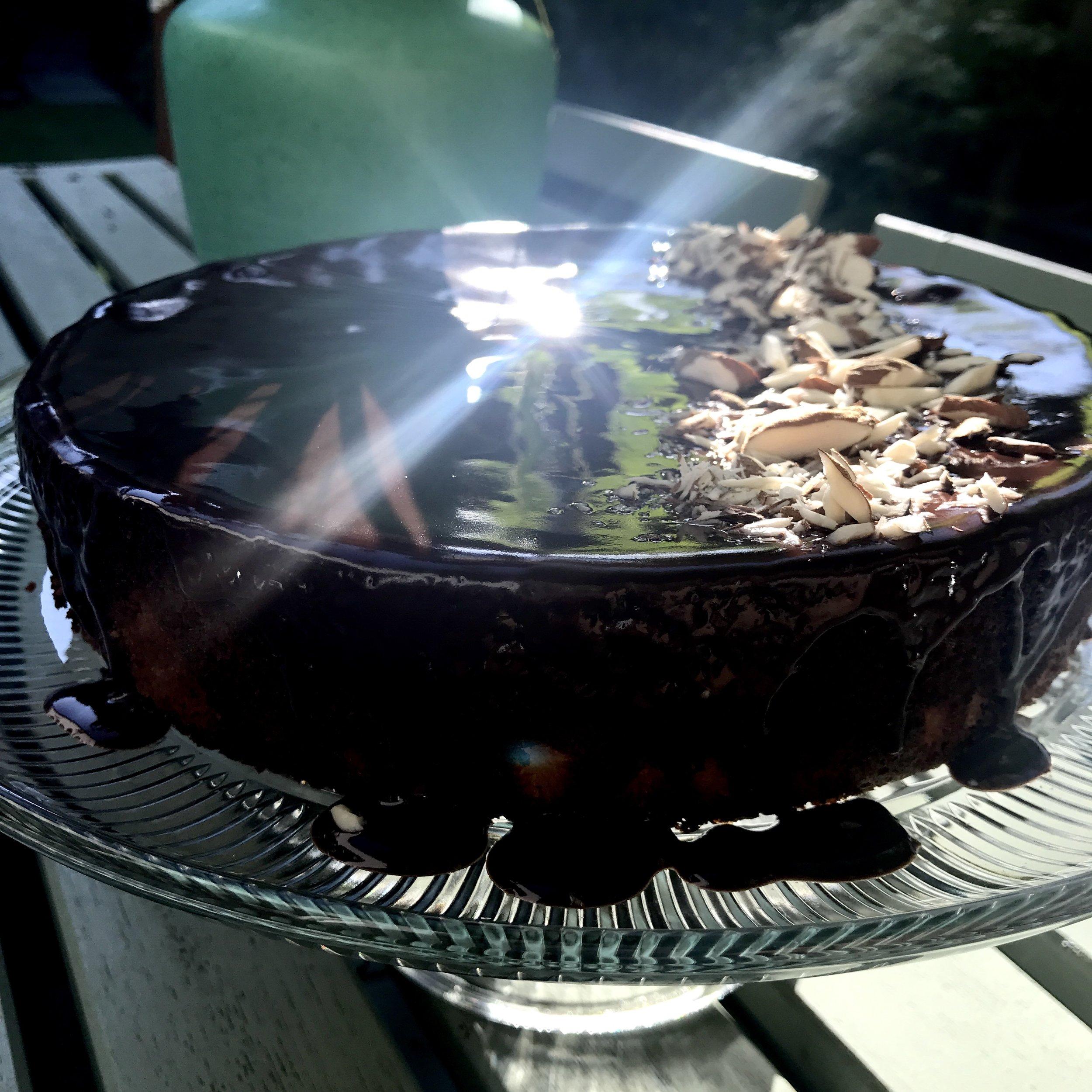 Orange and almond cake with chocolate glaze