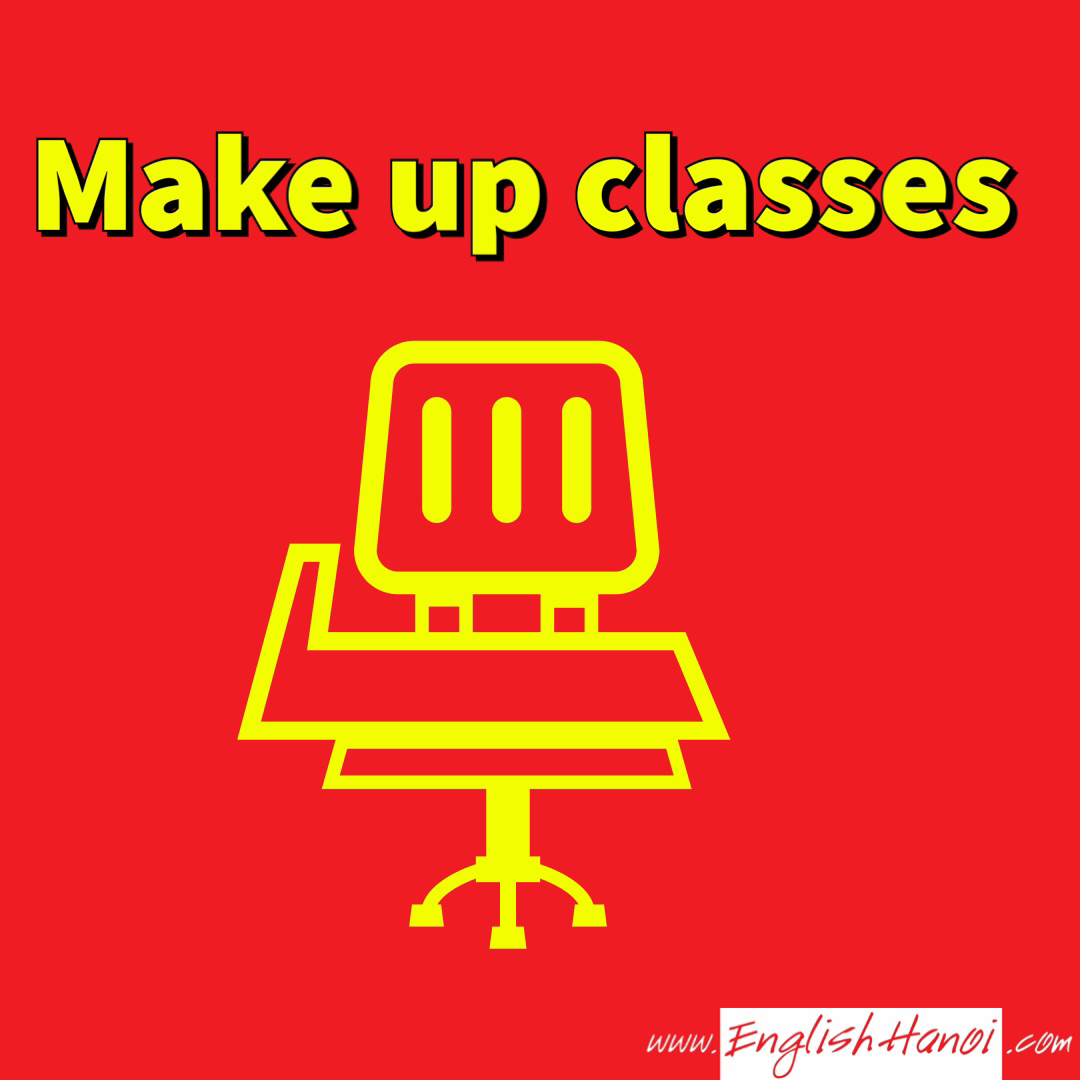 Bảo lưu và học bù   Khi bạn không đến lớp thì không được học vào các lớp khác. Vì mỗi một lớp là một tập thể khác nhau. English Hanoi sẽ sắp xếp trợ giảng kèm 1-1 cho học viên để học viên có thể theo kịp lớp.