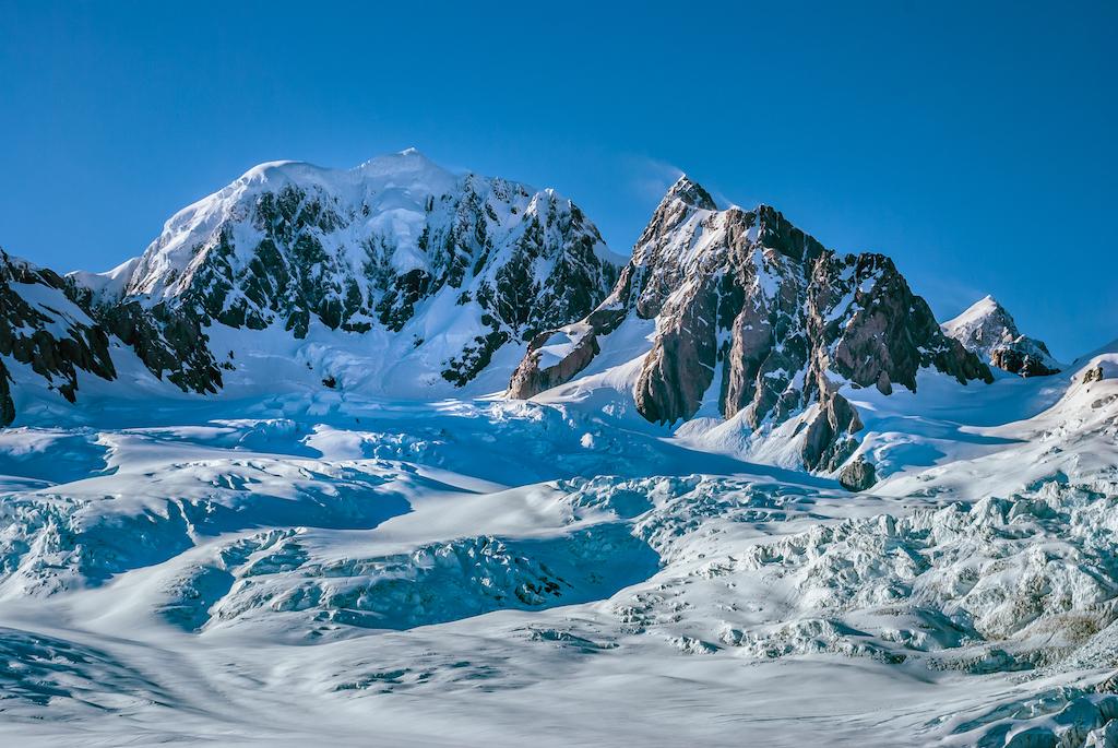 Mt Cook, Fox and Franz Josef Glaciers Overhead