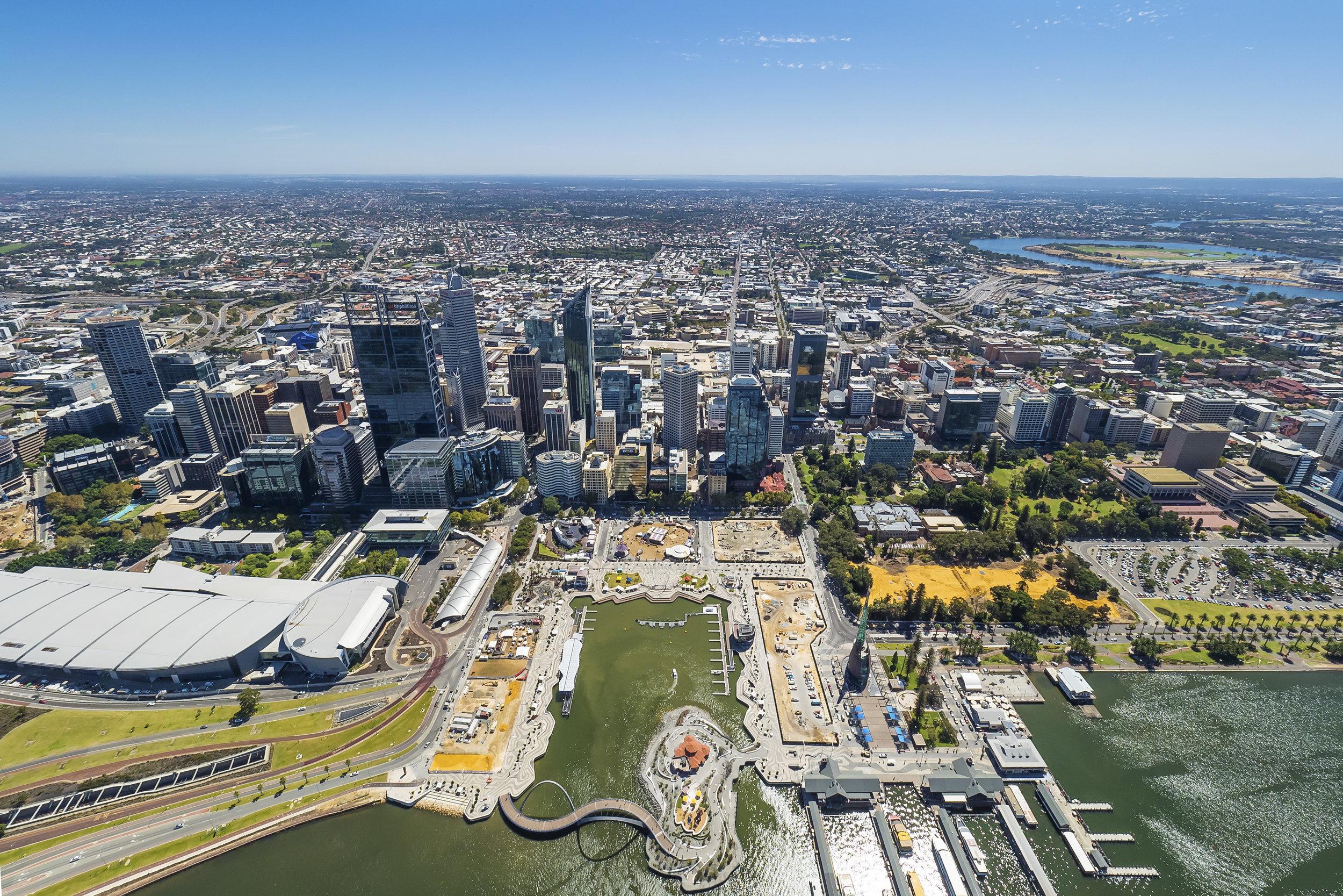 Aerial view of Elizabeth Quay, Perth