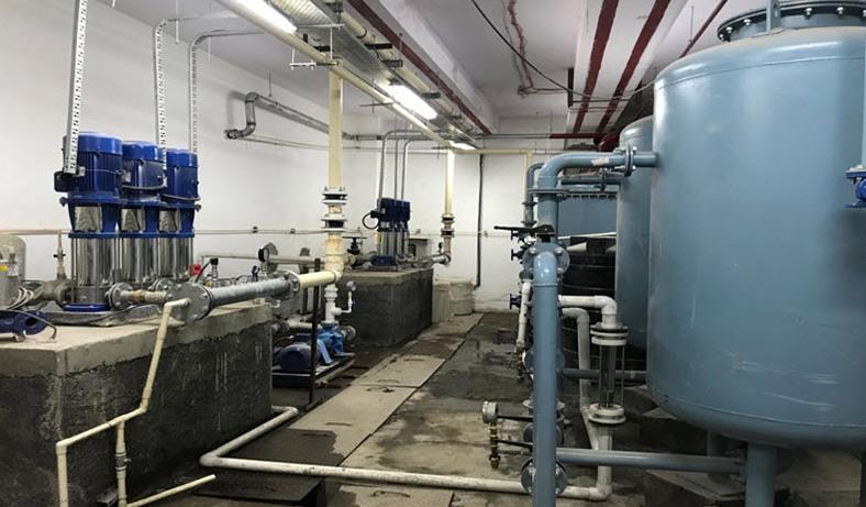 Figure 2 Plumbing pump room was augmented to meet new requirement.