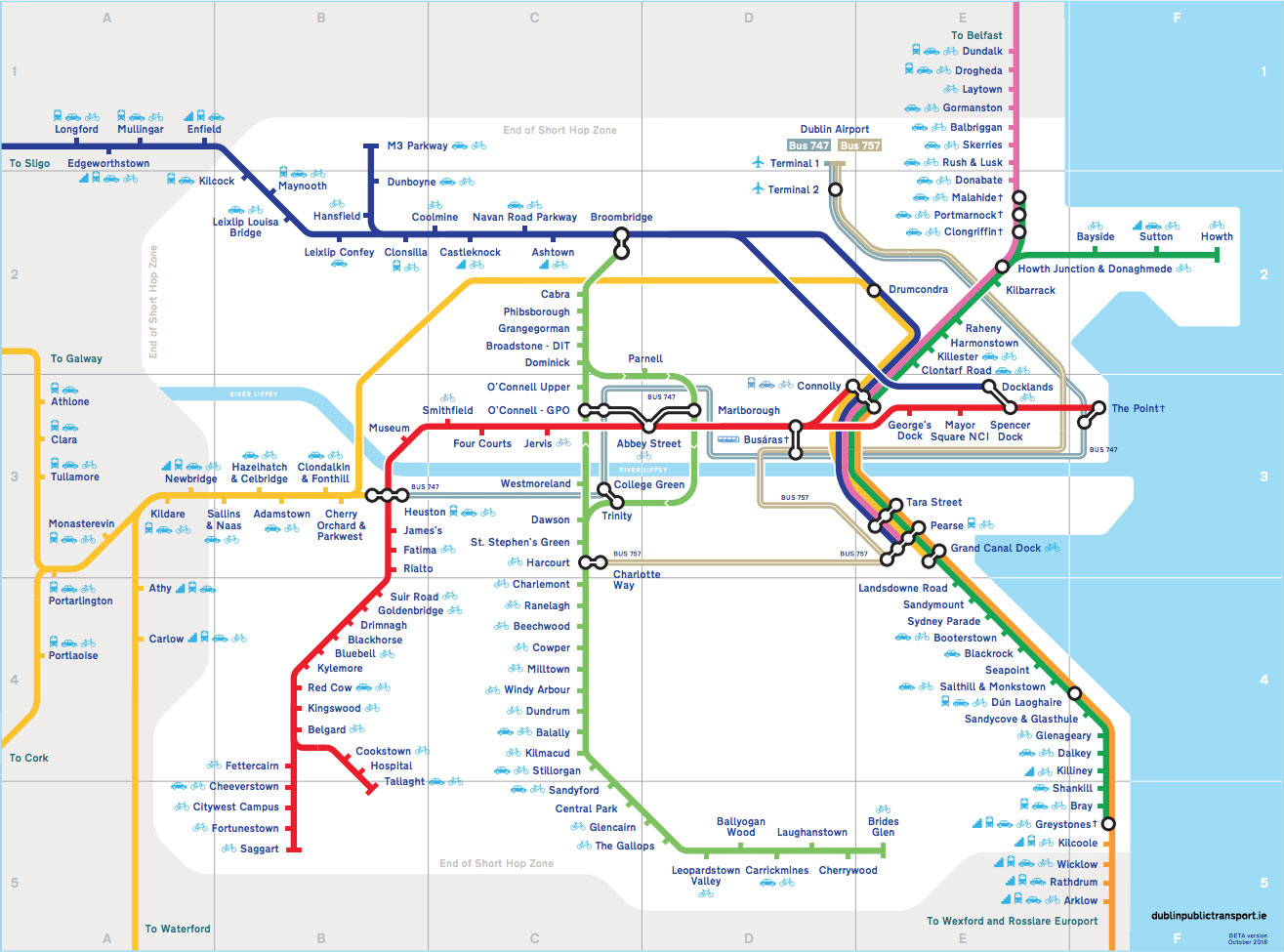 Dublin rail map - View our new map of Dublin rail lines and key airport bus routes.