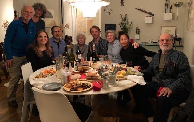 From left to right, Robert Perron, Laura Bass, Marjorie Tesser, Ken Sandbank, Lore Segal, Ian Turner, Elizabeth Denlinger, Dorotea Mendoza, Martin Hason.