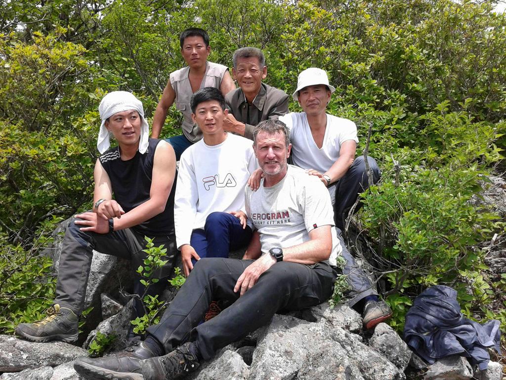 Roger Shepherd and team on the Baekdu Daegan in North Korea